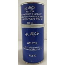 NL840 NELTON 2К HS Прозрачный лак 2:1 (комплект лак 1 л + отвердитель 500 мл)